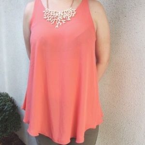 Loose Coral Pink Top w/Leather Like Straps